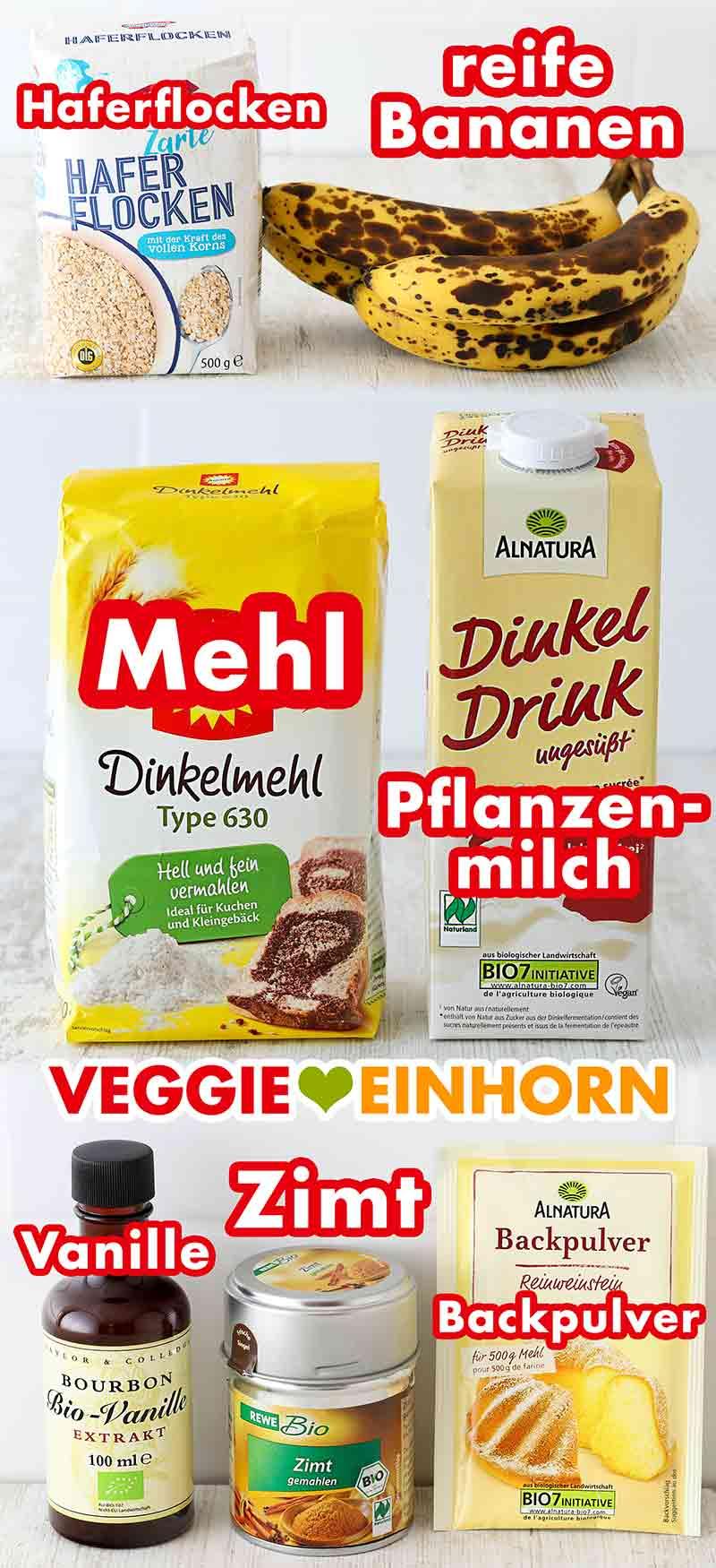 Verwendete Produkte für Haferflocken Bananen Muffins