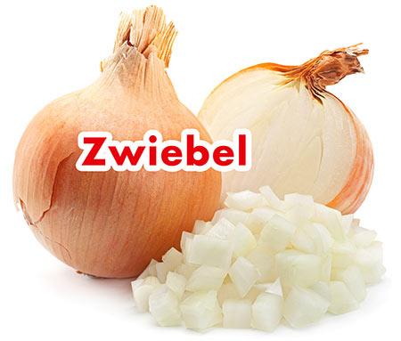 Eine Zwiebel und Zwiebelwürfel