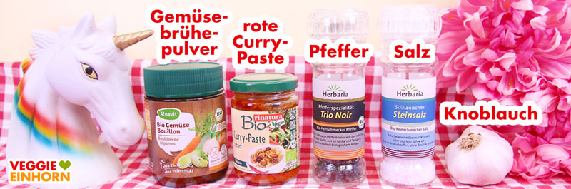 Gewürze Gemüsebrühe-Pulver, vegane rote Currypaste
