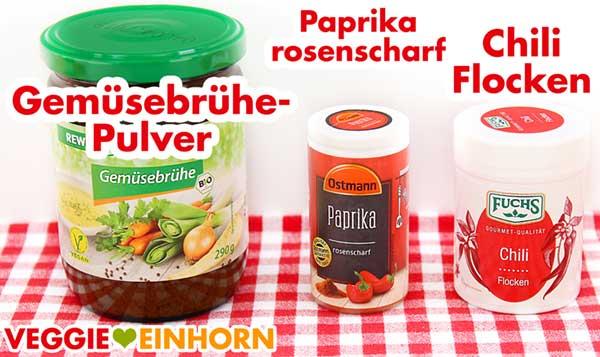 Veganes Gemüsebrühe Pulver, Paprika rosenscharf und Chiliflocken