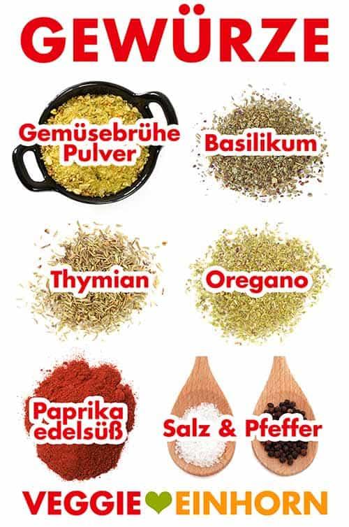 Gemüsebrühe, Basilikum, Thymian, Oregano, Paprika edelsüß