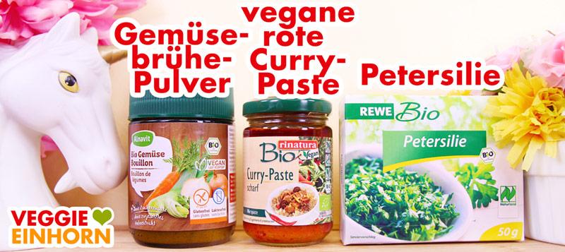 Gemüsebrühepulver, vegane rote Currypaste, Petersilie