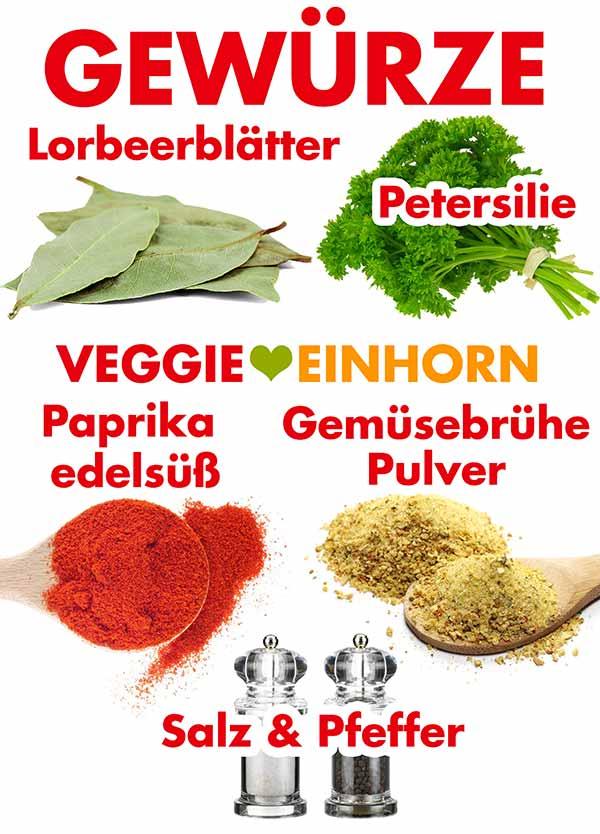 Gewürze für vegetarisches Züricher Geschnetzeltes