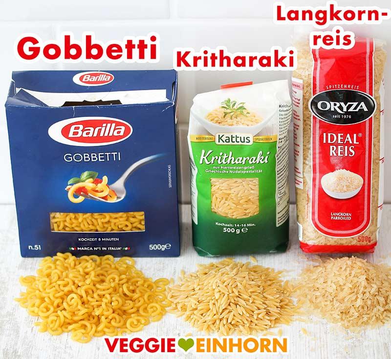 Gobbetti, Kritharaki und Langkornreis auf einem Tisch