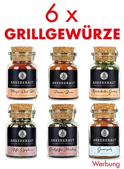 Sechs Gewürzgläser mit Grillgewürzen von Ankerkraut