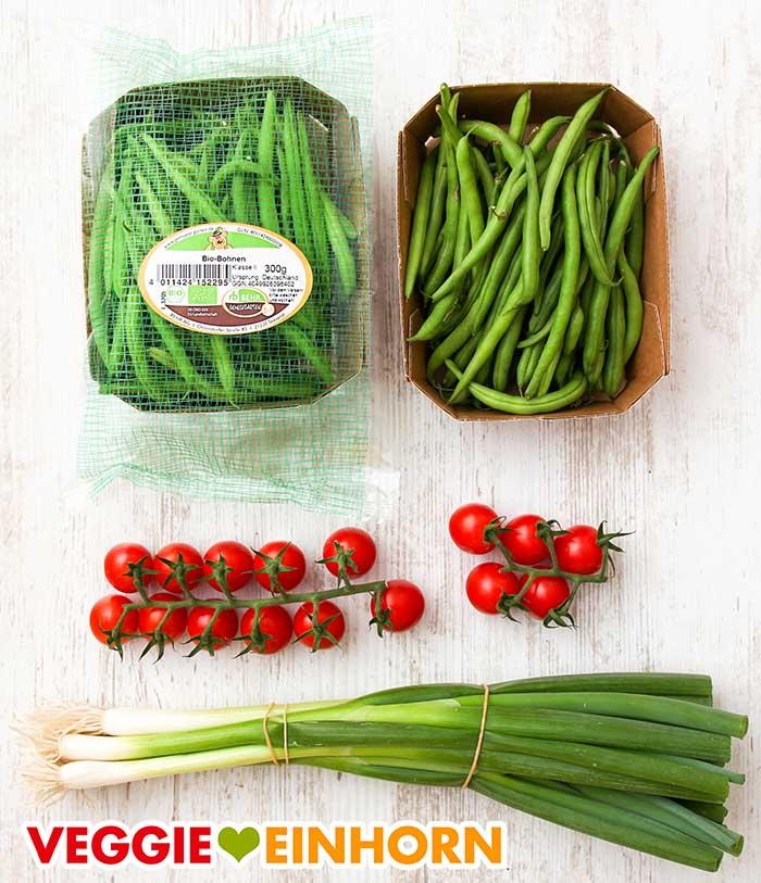 Grüne Bohnen, Cherry Tomaten, Lauchzwiebeln