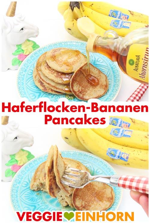 Vegane Haferflocken-Bananen-Pfannkuchen mit Ahornsirup serviert