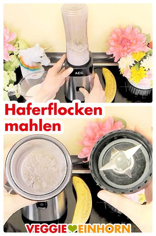 Haferflocken mahlen im Mini-Mixer