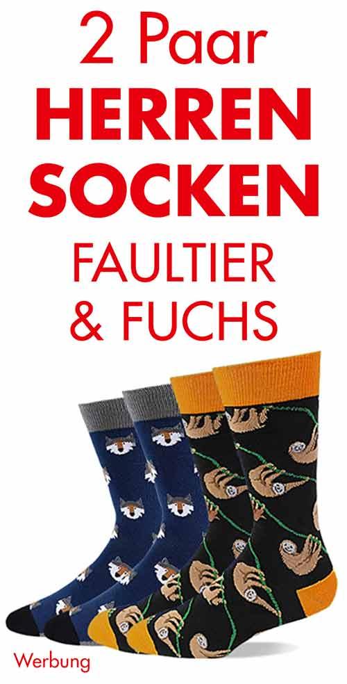 2 Paar lustige Socken für Herren mit Fuchs und Faultier