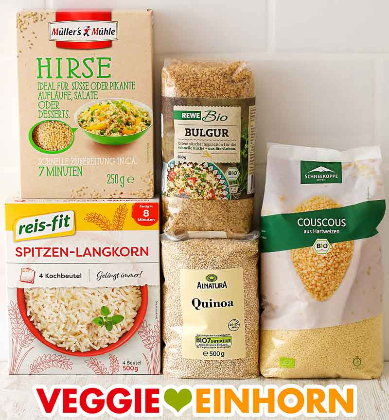 Packungen mit Hirse, Bulgur, Reis, Quinoa und Couscous