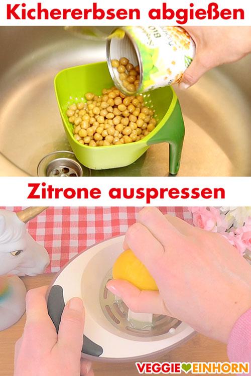 Kichererbsen abgießen und Zitrone auspressen