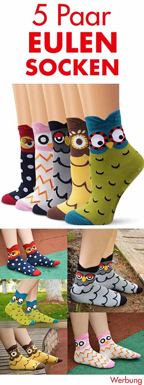5 Paar Eulen Socken