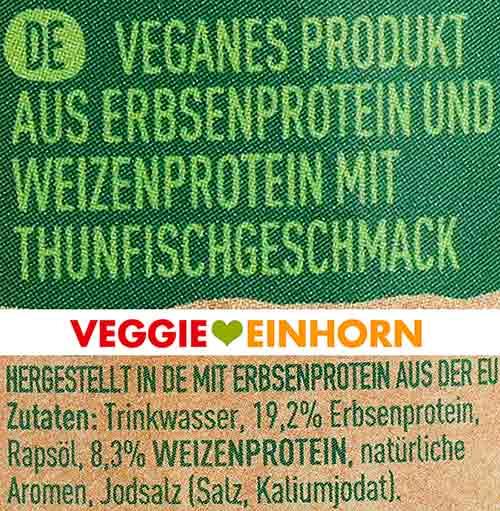 Zutaten von Garden Gourmet Thunvisch