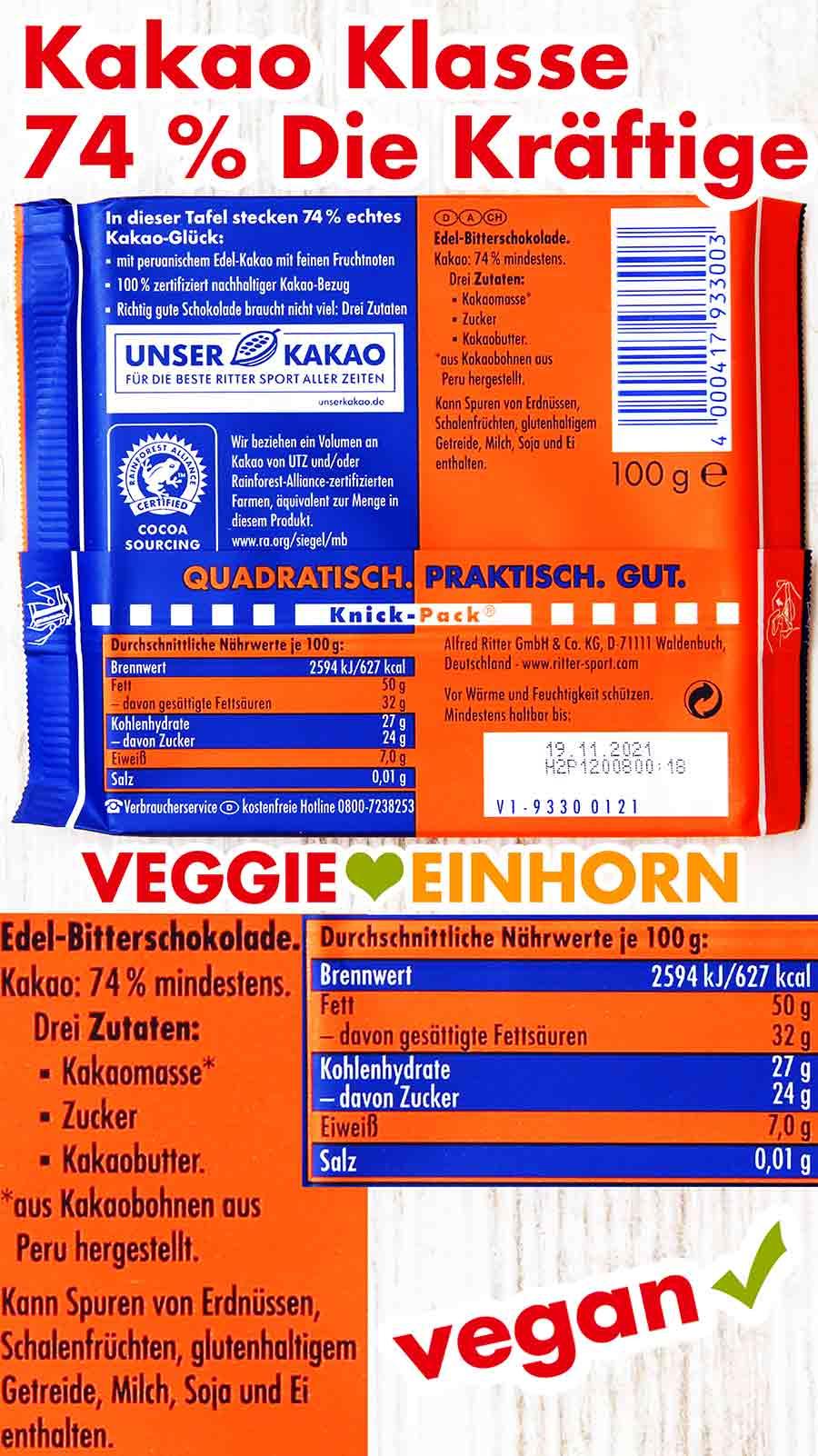 Rückseite der Schokoladentafel Ritter Sport Die Kräftige 74 %