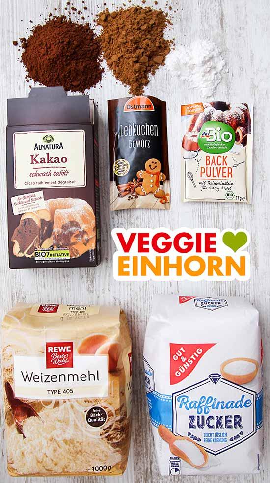 Kakaopulver, Lebkuchengewürz, Backpulver, Mehl, Zucker