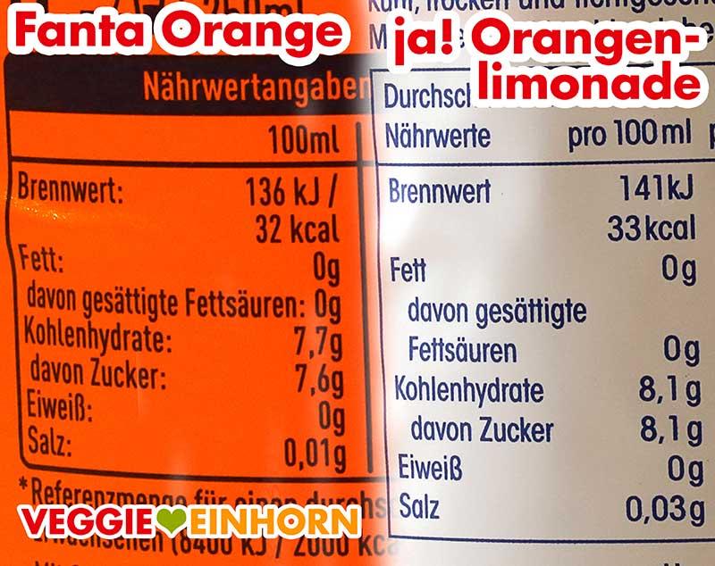 Kalorien und Nährwerte von Fanta Orange und ja! Orangenlimonade
