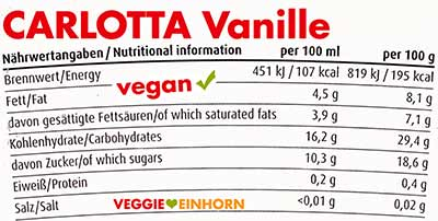 Carlotta Veganes Vanilleeis Nährwerte und Kalorien