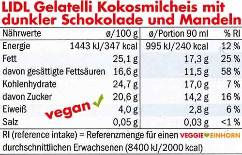 Lidl Kokosmilcheis mit dunkler Schokolade und Mandeln Nährwerte