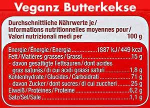 Nährwerte von Veganz Butterkeksen