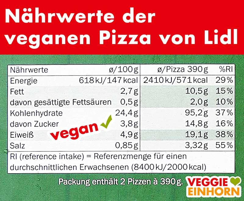 Nährwerte der veganen Pizza von Lidl