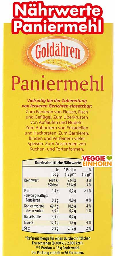 Kalorien und Nährwerte von Paniermehl