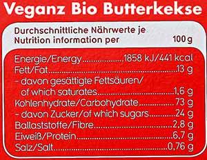 Kalorien Veganz Bio Butterkekse