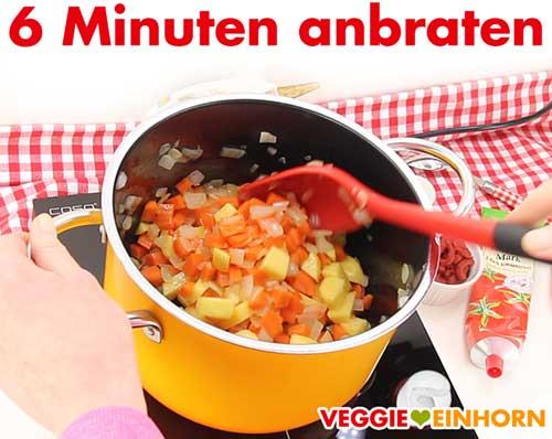 Möhren und Kartoffeln 6 Minuten anbraten