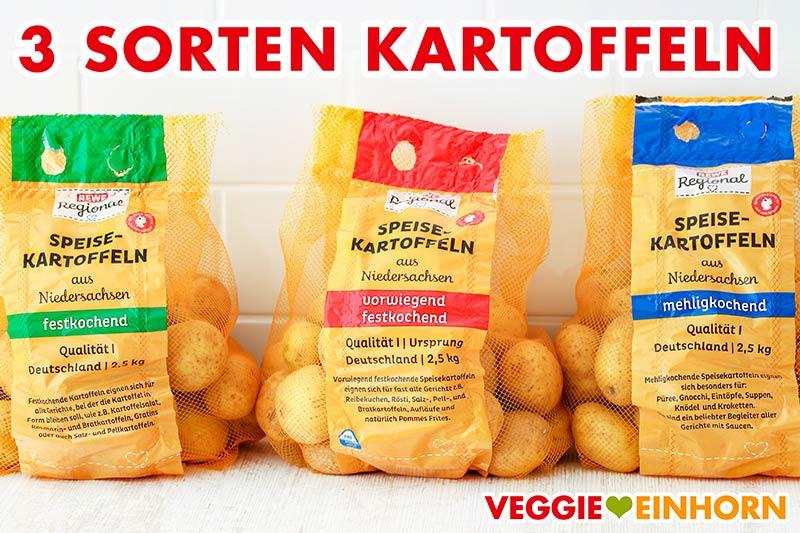 Drei Kartoffel Sorten (festkochend, vorwiegend festkochend, mehligkochend)
