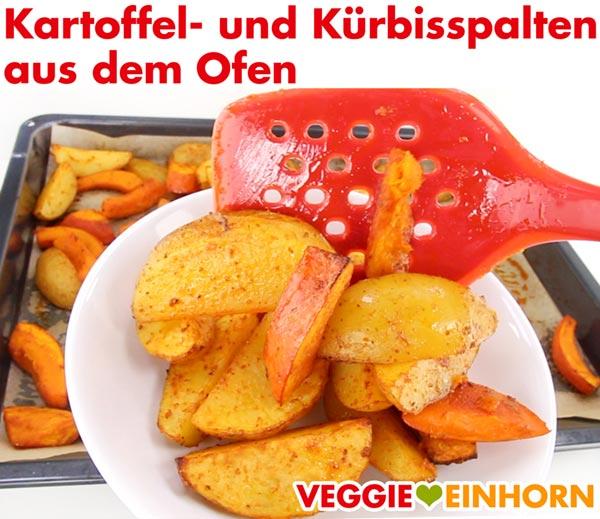 Kartoffel Wedges und Kürbis Spalten aus dem Ofen