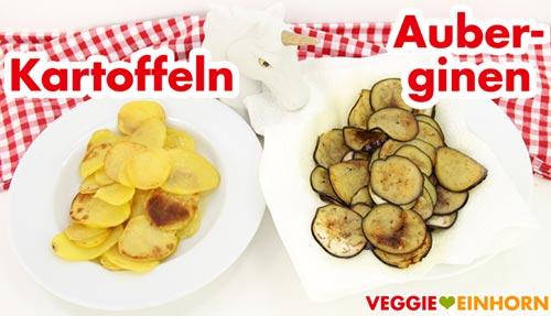 Gebratene Kartoffel und Auberginen Scheiben