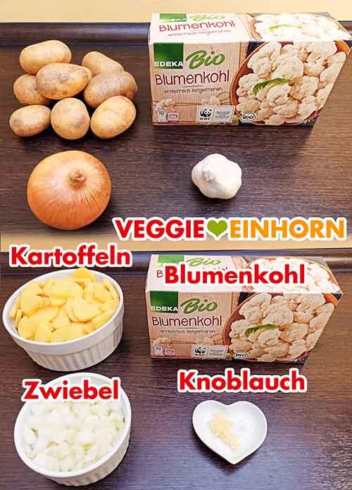 Kartoffeln, tiefgekühlter Blumenkohl, Zwiebel, Knoblauch