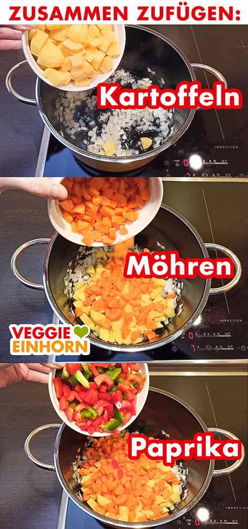 Kartoffeln, Möhren und Paprika werden in den Topf zugefügt