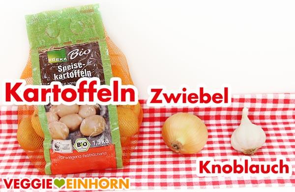Kartoffeln, Zwiebel und Knoblauch für veganes Kartoffelgratin