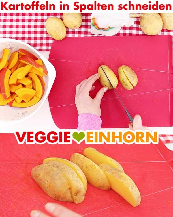 Kartoffeln in Spalten schneiden (Wedges)