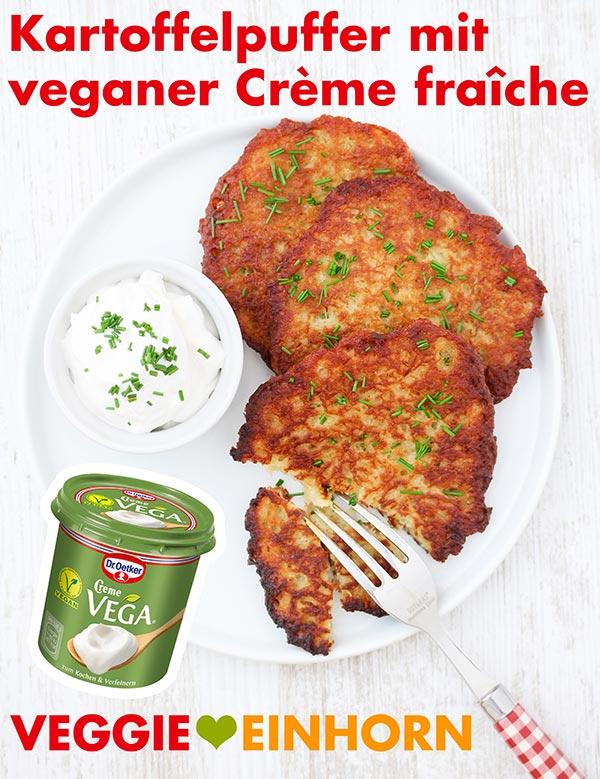 Kartoffelpuffer mit veganer Crème fraîche