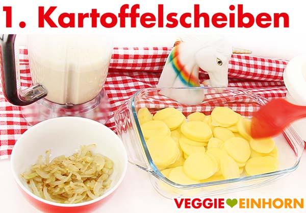 Kartoffelscheiben in Auflaufform für veganes Gratin