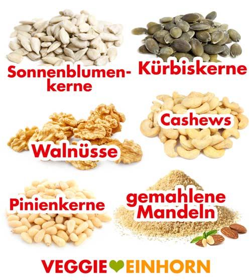 Sonnenblumenkerne, Kürbiskerne, Walnüsse, Pinienkerne, Mandeln