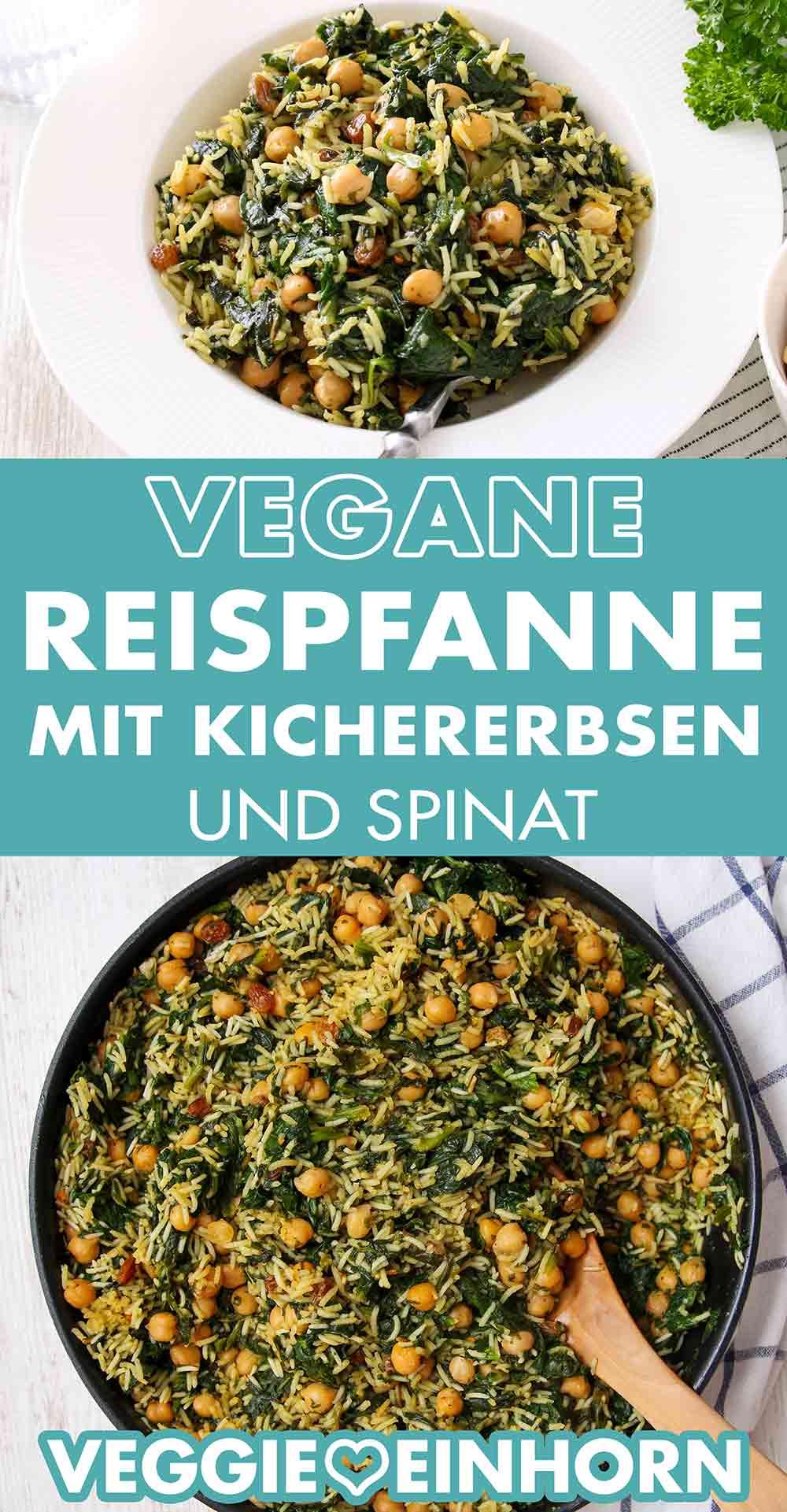 Vegane Kichererbsen-Spinat-Reispfanne
