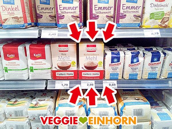 Kichererbsenmehl im Supermarkt