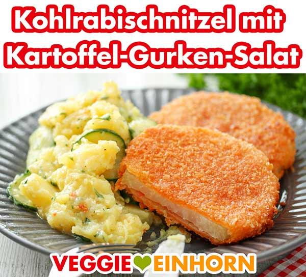 Ein Teller mit Kartoffel-Gurken-Salat und Kohlrabischnitzeln