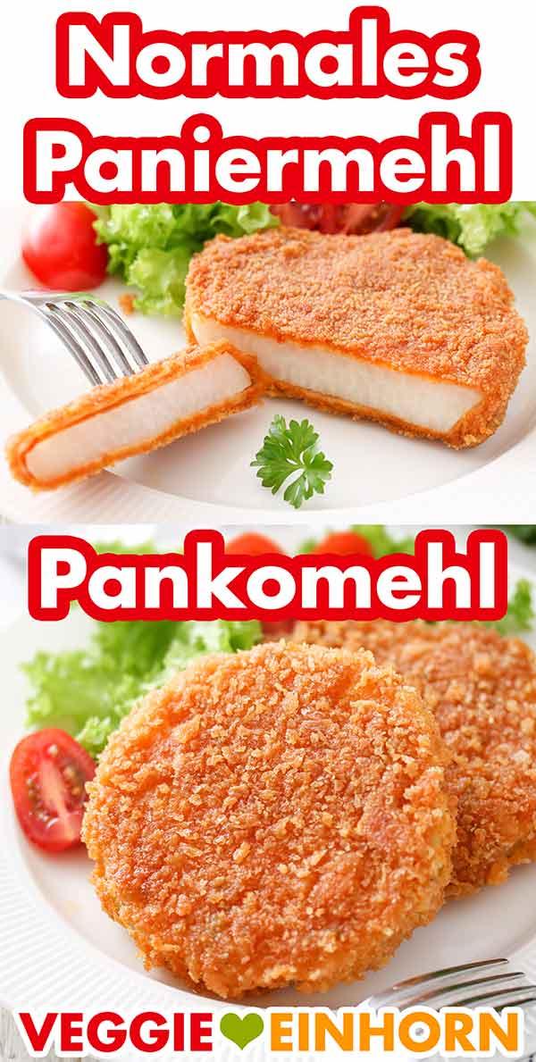 Kohlrabischnitzel paniert mit normalem Paniermehl und mit Panko Panade