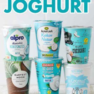 Sechs Becher Kokosjoghurt von verschiedenen Marken