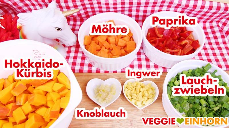 Gemüse Kürbis Möhre Paprika Lauchzwiebeln