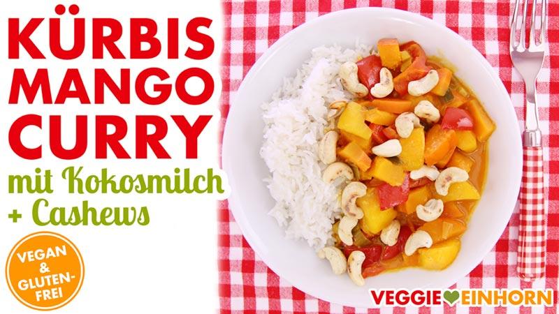 Veganes Kürbis-Mango-Curry mit Kokosmilch & Cashewkernen