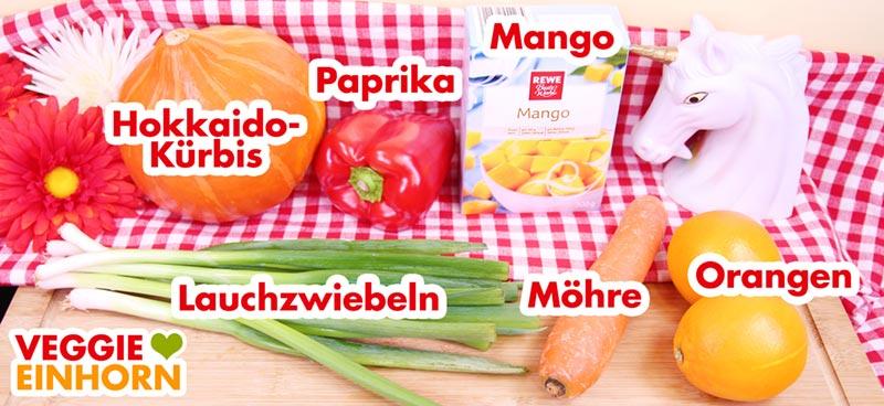 Gemüse für veganes Curry mit Kürbis, Möhre, Paprika und Mango