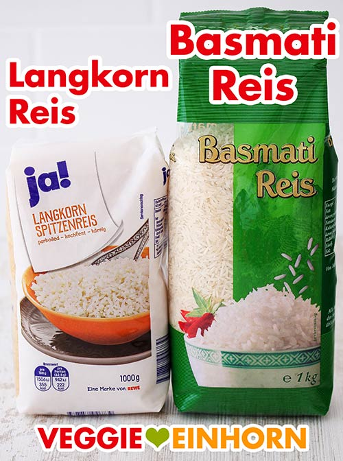 Eine Packung Langkornreis und eine Packung Basmati Reis