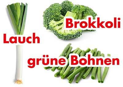 Lauch, Brokkoli und grüne Bohnen.