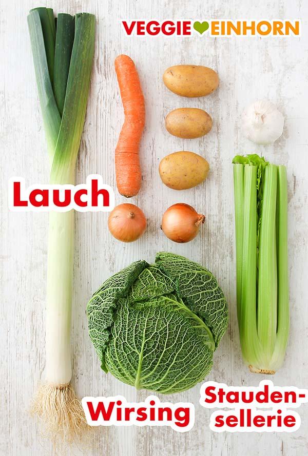 Lauch, Wirsing, Staudensellerie, Karotte, Kartoffeln, Zwiebeln, Knoblauch