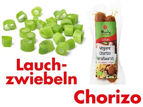 Lauchzwiebeln und vegane Chorizo