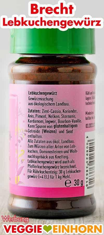 Rückseite des Gewürzglases von Brecht Lebkuchengewürz